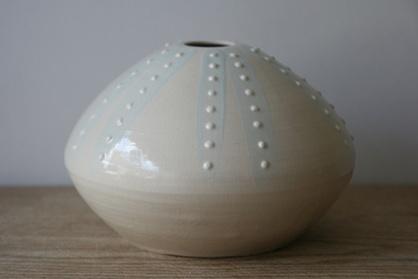 Stoneware urchin, with slip detail
