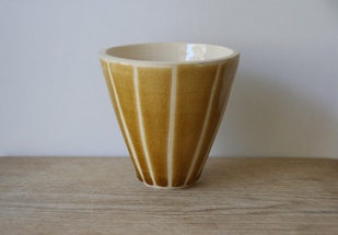 Porcelain vessel with honey glaze