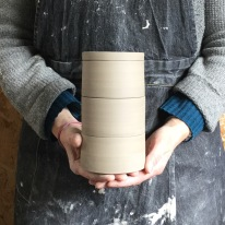 Here's the finished set of stacking pots for Day Four. Once fully dry they will be glazed and fired to 1240*c. They will eventually turn white.